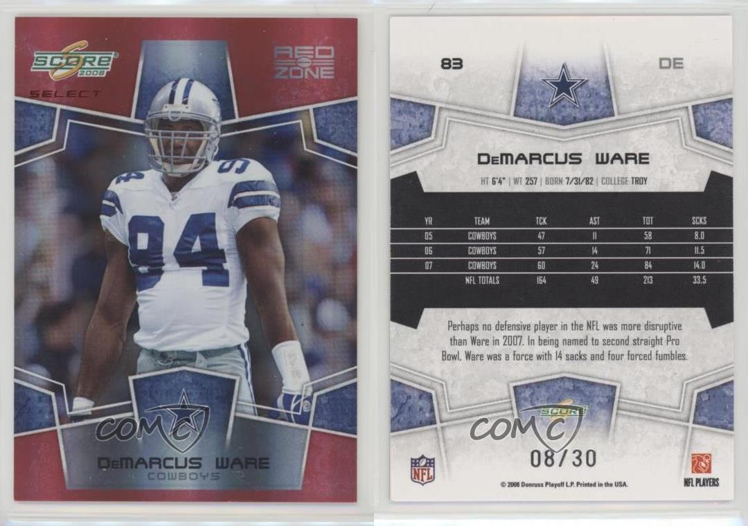 2008 Score Select Red Zone 83 DeMarcus Ware