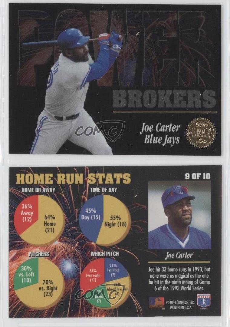 1994 Leaf Power Brokers #9 Joe Carter Toronto Blue Jays Baseball ...
