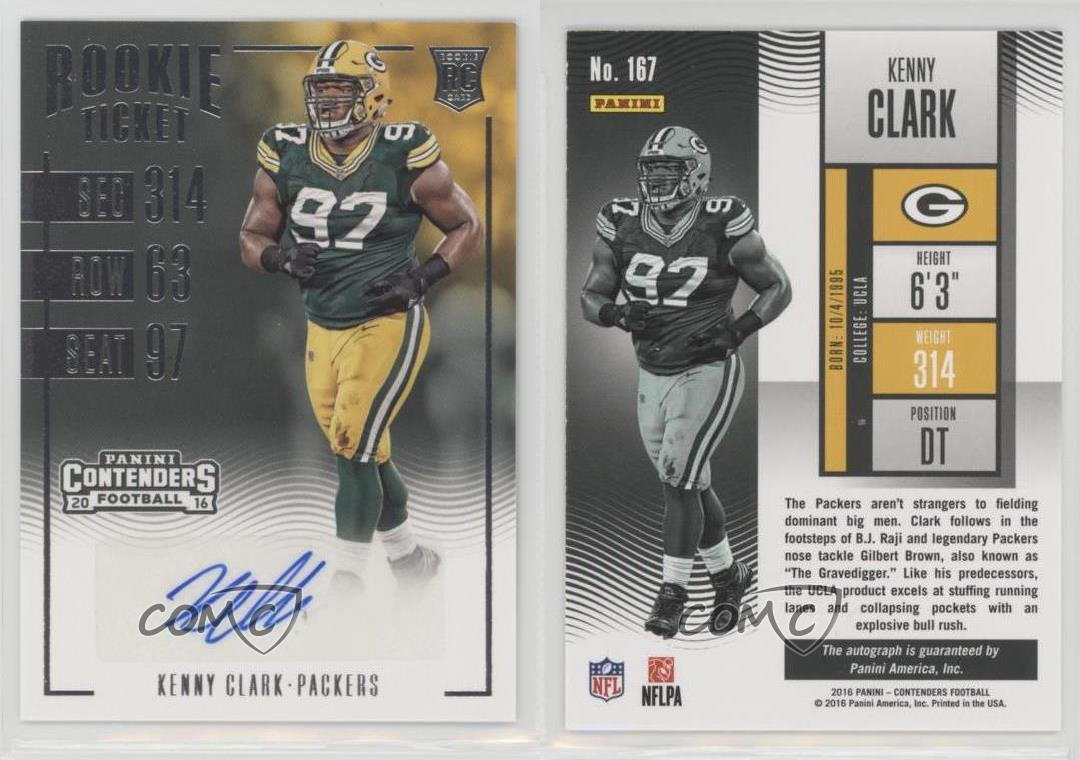 2016-Panini-Contenders-167-Rookie-Ticket-Kenny-Clark-Green-Bay-Packers-Auto-RC