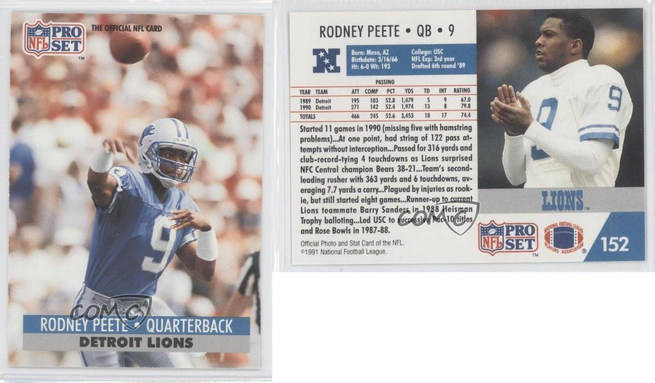 Rodney Peete Lions 1991 Pro Set #152 Rodn...