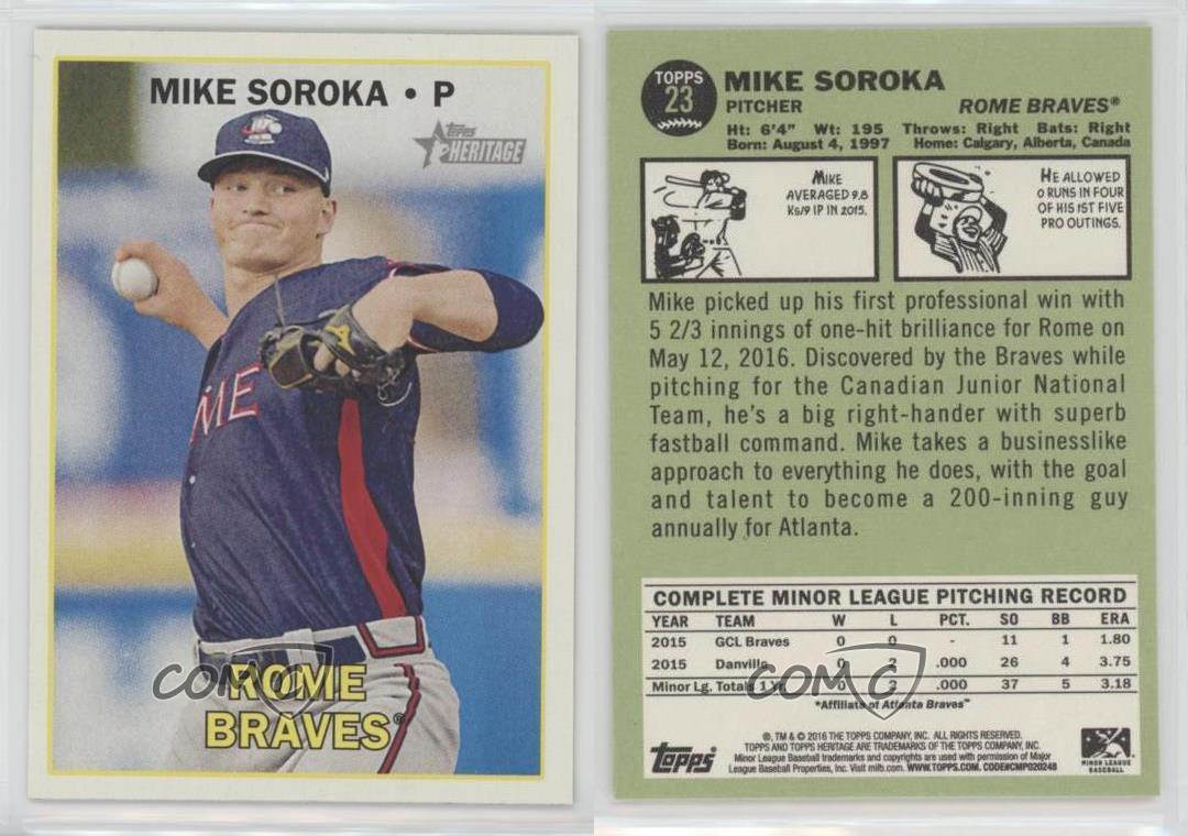2016-Topps-Heritage-Minor-League-Edition-23-Mike-Soroka-Rome-Braves-Rookie-Card