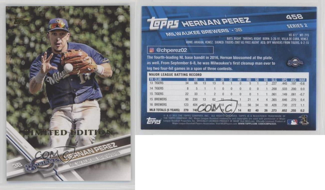2017-Topps-Limited-Edition-458-Hernan-Perez-Milwaukee-Brewers-Baseball-Card