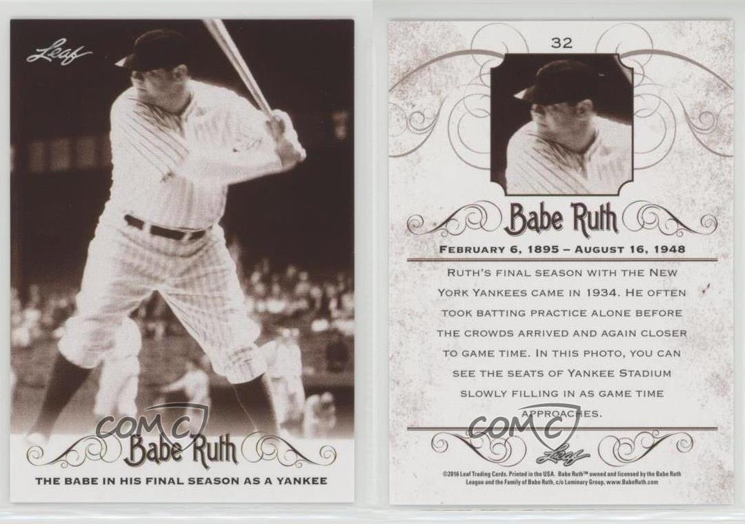 6 Babe Ruth 2016 Leaf Collection MASSIVE 100 Card Complete Card Master Sets !