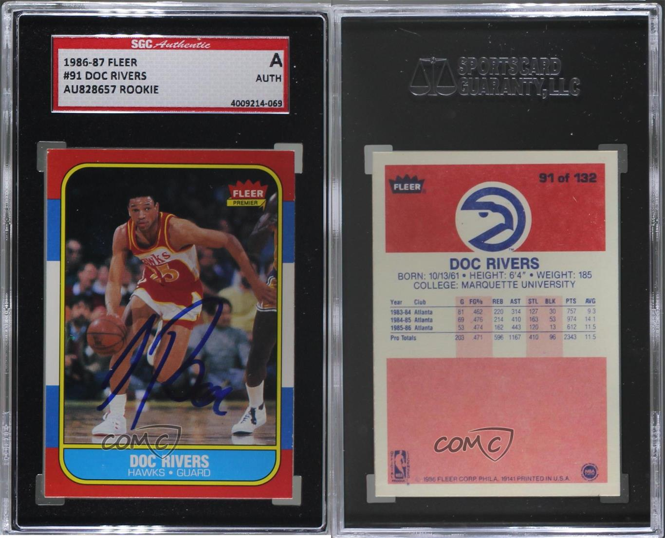 1986-Fleer-91-Doc-Rivers-SGC-Authentic-Atlanta-Hawks-RC-Rookie-Basketball-Card