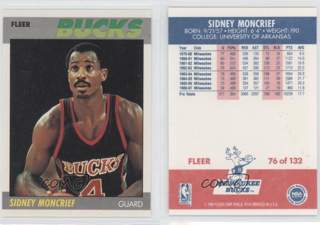 1987 88 Fleer 76 Sidney Moncrief Milwaukee Bucks Basketball Card