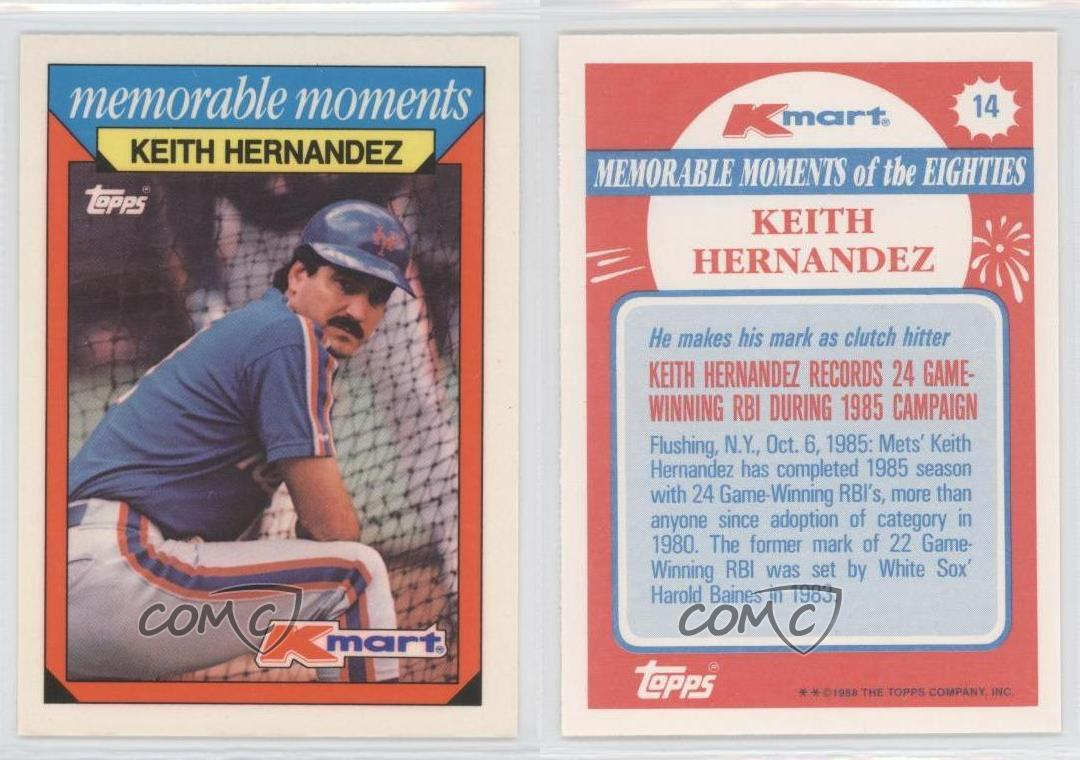 1988 Topps Kmart Memorable Moments 14 Keith Hernandez New