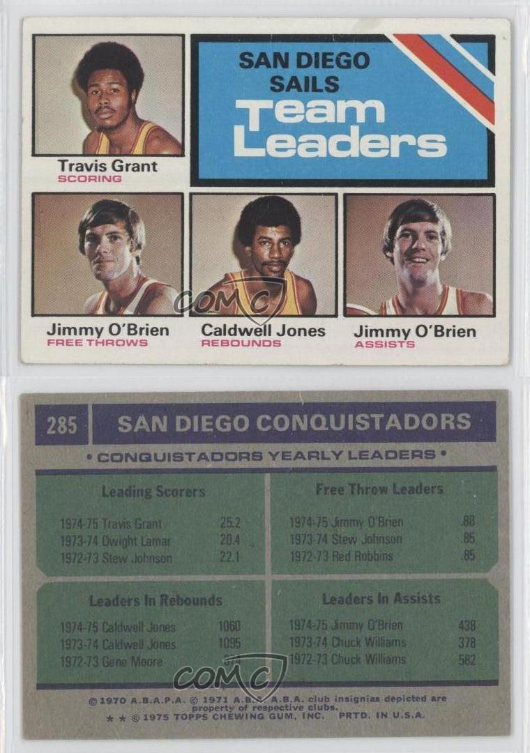 1975 Topps 285 Travis Grant Caldwell Jones Jimmy O Brien San