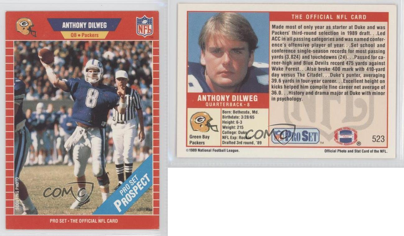 1989-Pro-Set-523-Anthony-Dilweg-Green-Bay-Packers-RC-Rookie-Football-Card