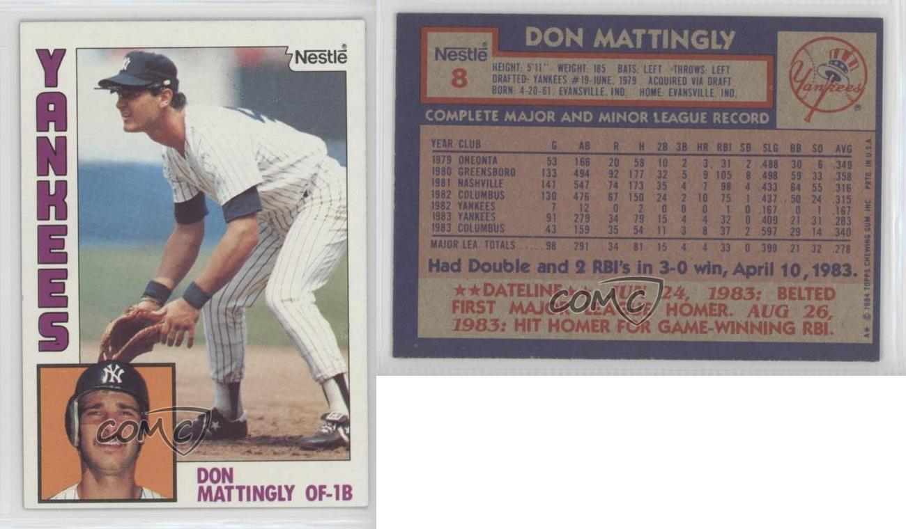 1984 Topps Nestle 8 Don Mattingly New York Yankees Rookie