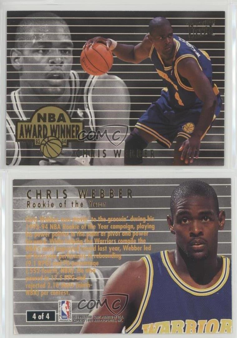 1994-95 Fleer Ultra NBA Award Winner #4 Chris Webber Golden State Warriors Card   eBay
