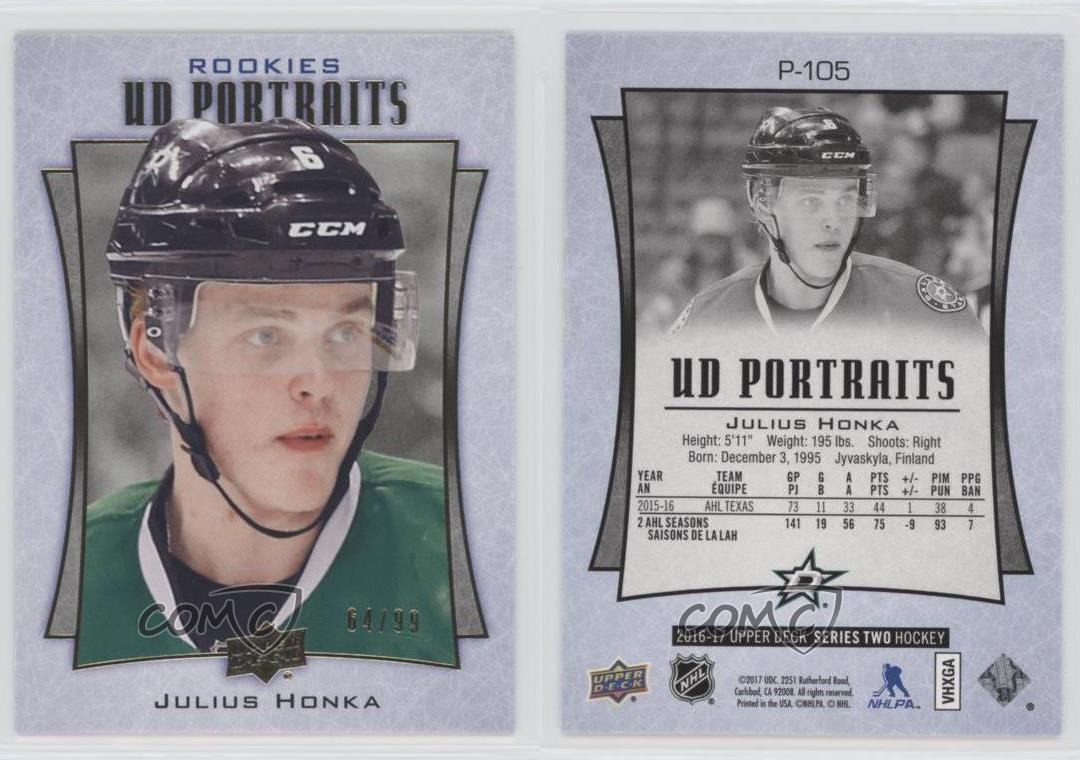 2016-17-Upper-Deck-UD-Portraits-Gold-Foil-P-105-Rookie-Julius-Honka-Dallas-Stars