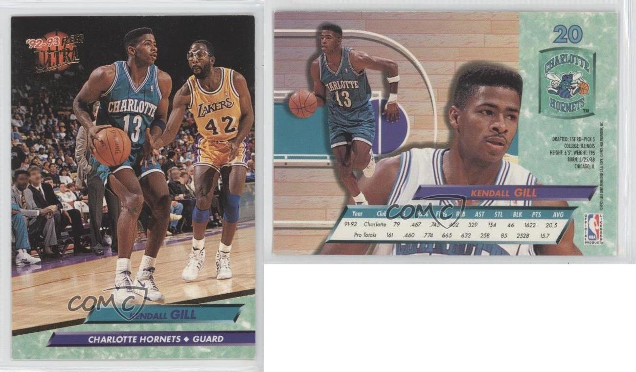 1992 93 Fleer Ultra 20 Kendall Gill Charlotte Hornets Basketball