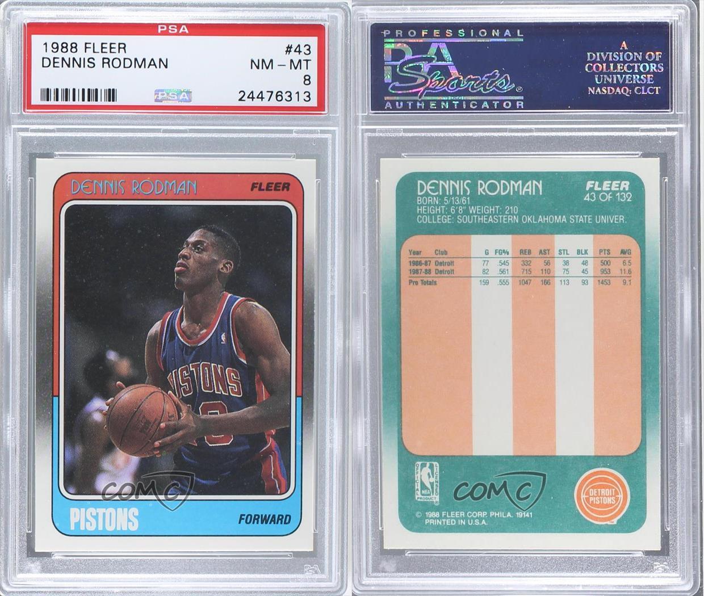1988-89 Fleer #43 Dennis Rodman PSA 8 Detroit Pistons RC