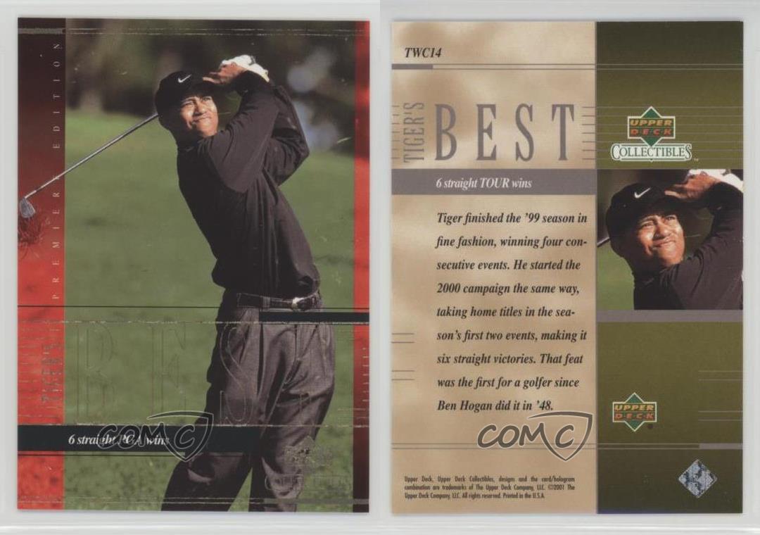 2001-Upper-Deck-Career-TWC14-Tiger-Woods-Rookie-Golf-Card