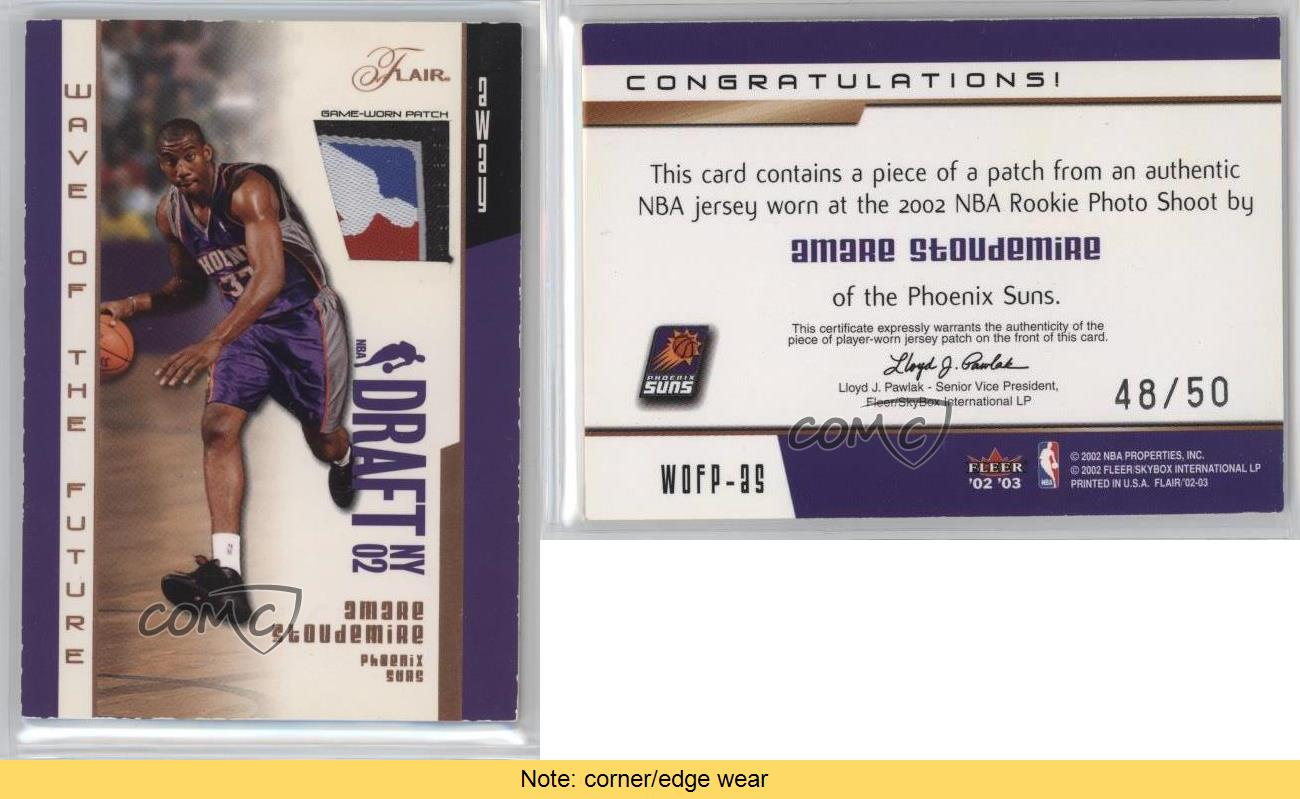 2002-Flair-Wave-of-the-Future-Patch-WOFP-AS-Amare-Stoudemire-Phoenix-Suns-Card