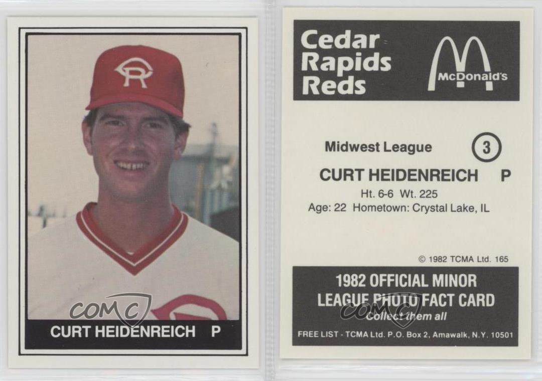 1982-TCMA-Minor-League-165-Curt-Heidenreich-Cedar-Rapids-Reds-Baseball-Card