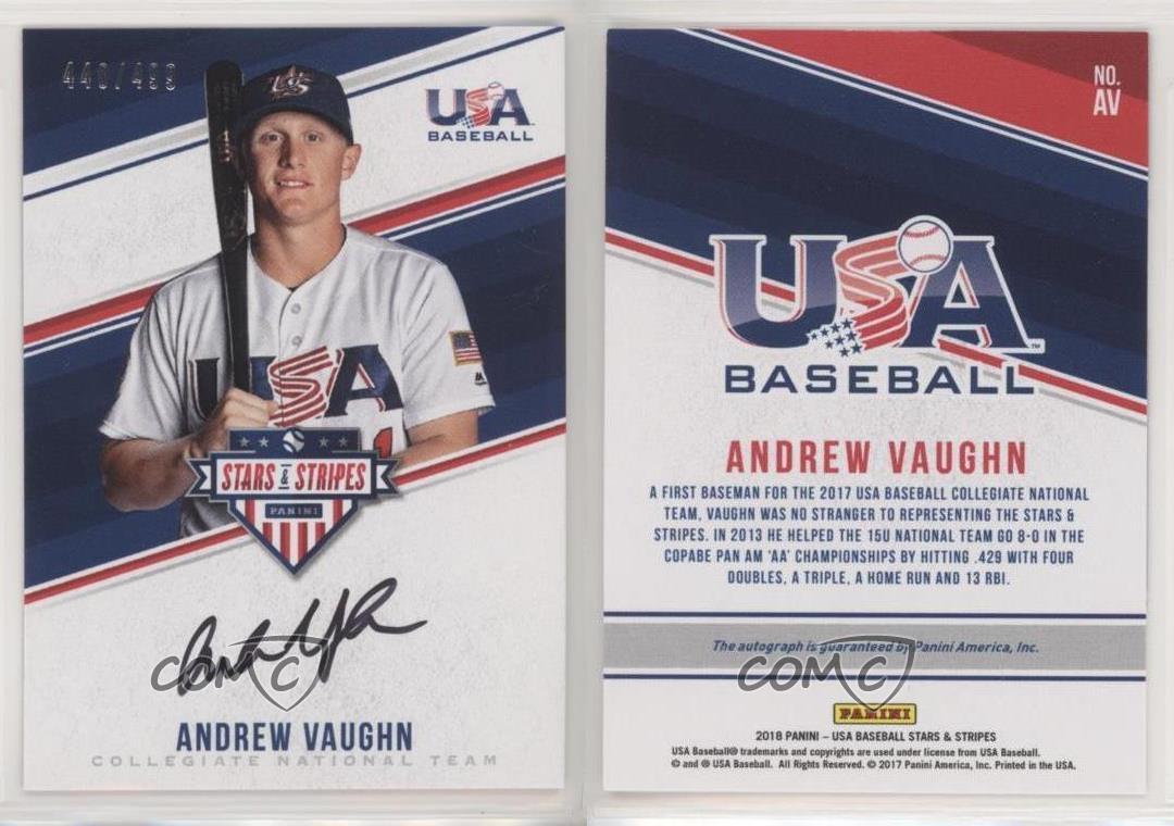 Team USA On Card Auto #/'d //499 Andrew Vaughn 2019 Panini Stars /& Stripes