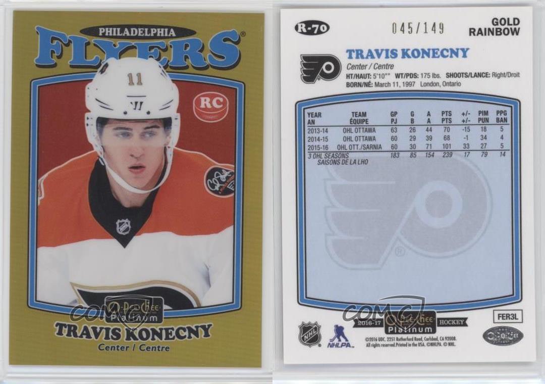 2016-17-O-Pee-Chee-Platinum-Retro-Gold-Rainbow-R-70-Travis-Konecny-Hockey-Card
