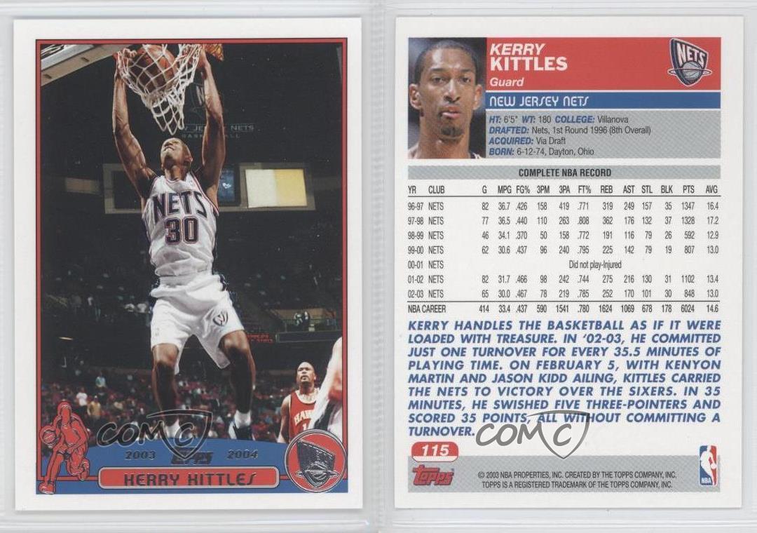 2003 04 Topps 115 Kerry Kittles New Jersey Nets Basketball Card