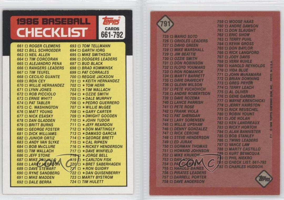 1986 Topps #791 Checklist Baseball Card | eBay