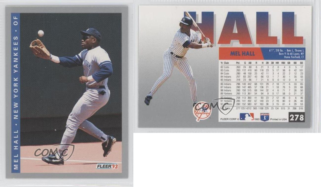 1993 Fleer 278 Mel Hall New York Yankees Baseball Card Ebay