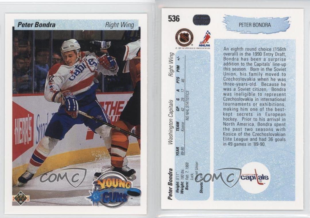 1990-91-Upper-Deck-536-Peter-Bondra-Washington-Capitals-RC-Rookie-Hockey-Card