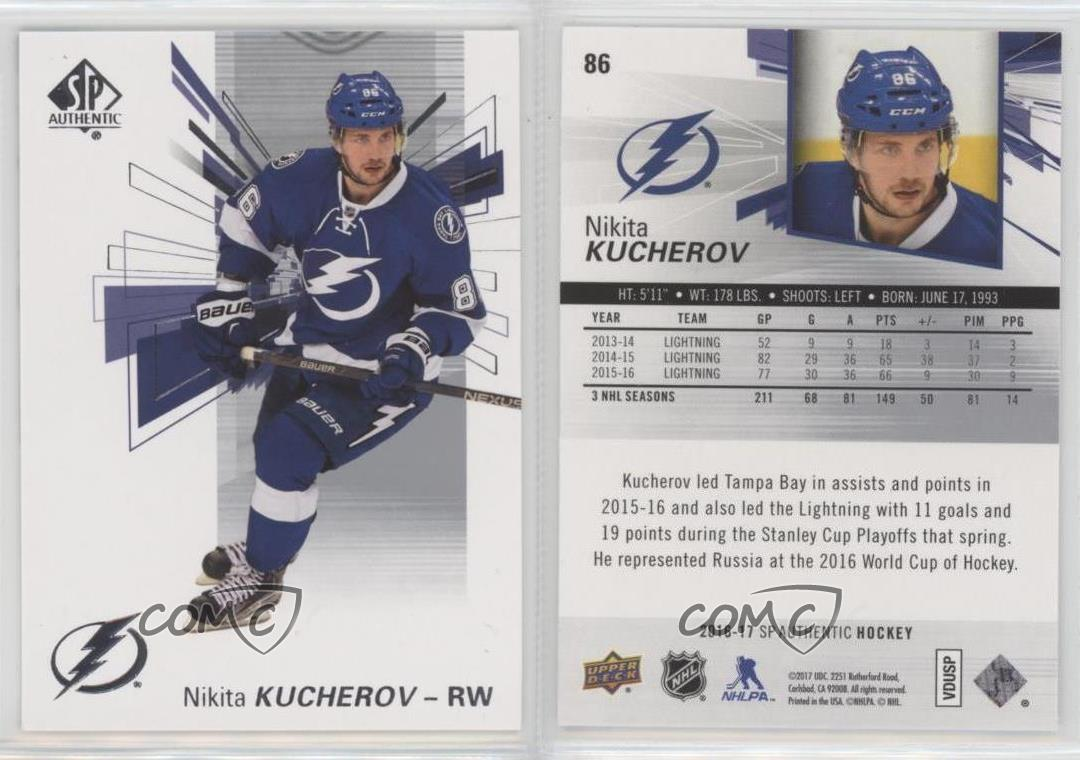 2016 17 sp authentic 86 nikita kucherov tampa bay lightning hockey