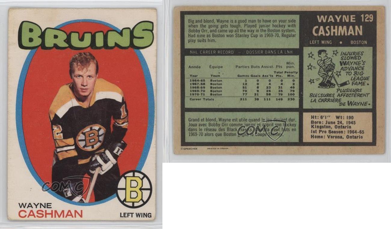 1971-72-O-Pee-Chee-129-Wayne-Cashman-Boston-Bruins-Hockey-Card