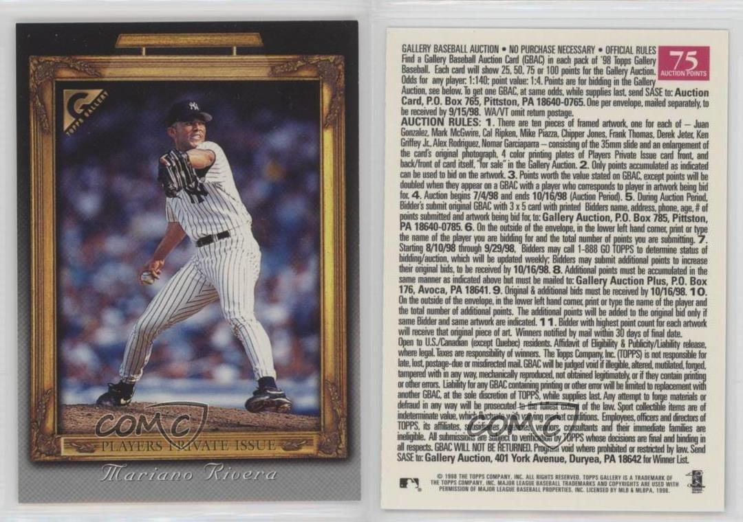 1998-Topps-Gallery-Baseball-Auction-75-Points-MARI-Mariano-Rivera-Card