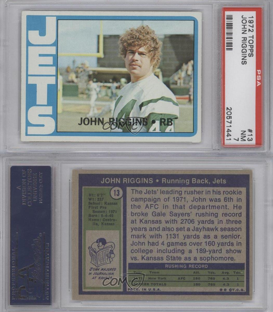 1972 Topps #13 John Riggins PSA 7 New York Jets RC Rookie
