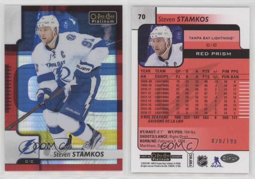 2017-18-O-Pee-Chee-Platinum-Red-Prism-70-Steven-Stamkos-Tampa-Bay-Lightning-Card