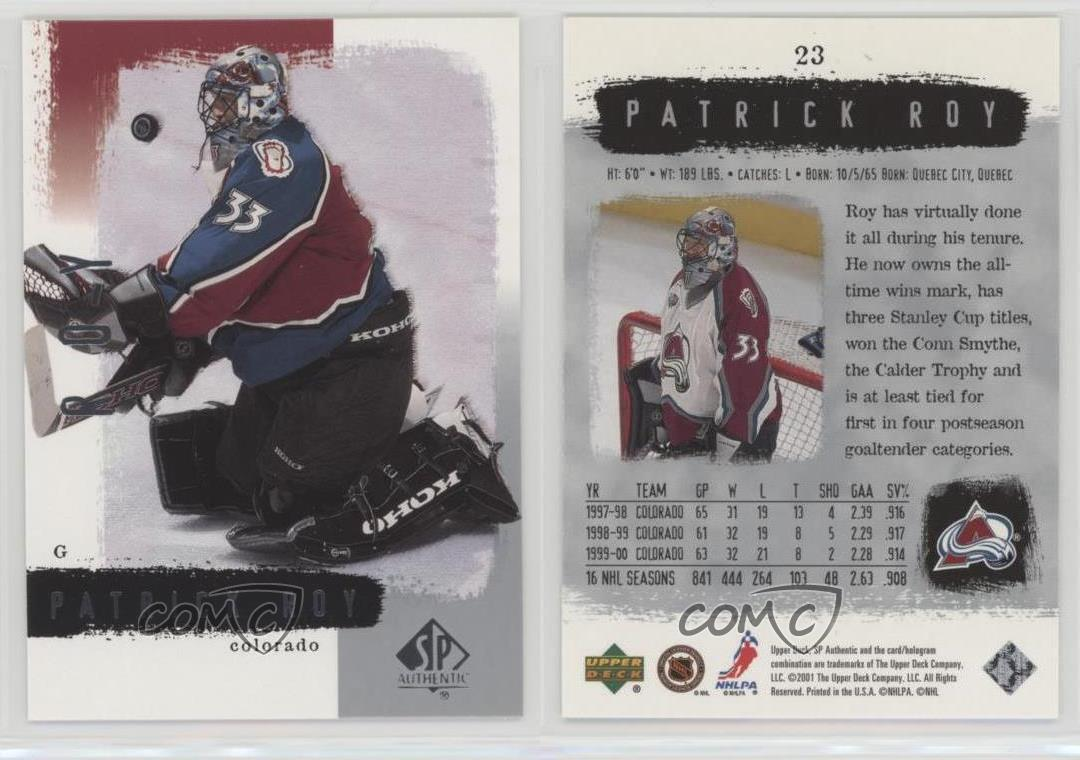 2000-01-SP-Authentic-23-Patrick-Roy-Colorado-Avalanche-Hockey-Card