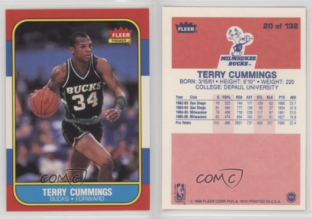 1986 87 Fleer 20 Terry Cummings Milwaukee Bucks RC Rookie