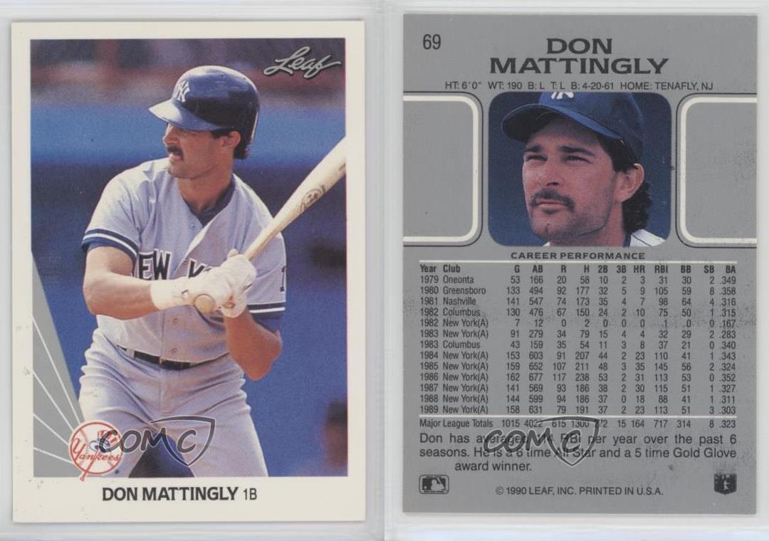 1990 Leaf 69 Don Mattingly New York Yankees Baseball Card