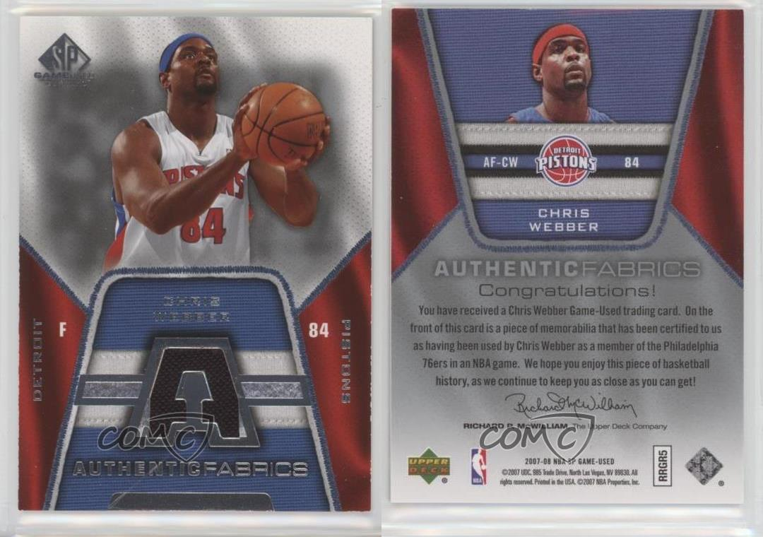 2007-08-SP-Game-Used-Authentic-Fabrics-AF-CW-Chris-Webber-Detroit-Pistons-Card