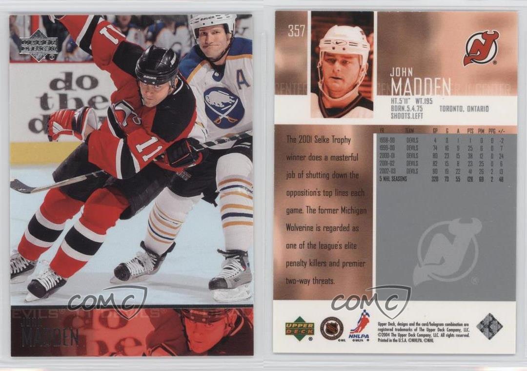 big sale c2c94 6911a Details about 2003-04 Upper Deck #357 John Madden New Jersey Devils Hockey  Card