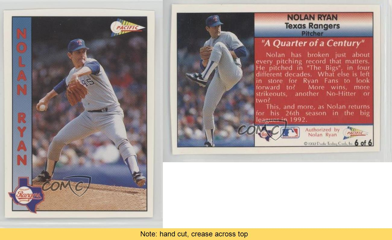1992-Pacific-Magazine-Promo-Strip-6-Nolan-Ryan-Texas-Rangers-Baseball-Card