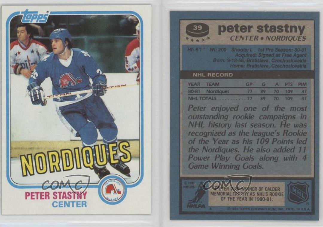 1981-82-Topps-39-Peter-Stastny-Quebec-Nordiques-RC-Rookie-Hockey-Card