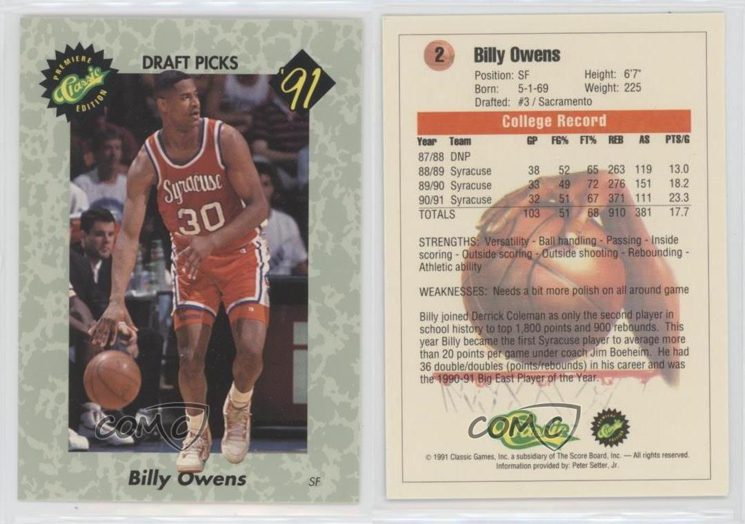 1991 Classic Draft Picks 2 Billy Owens Syracuse Orangemen Rookie
