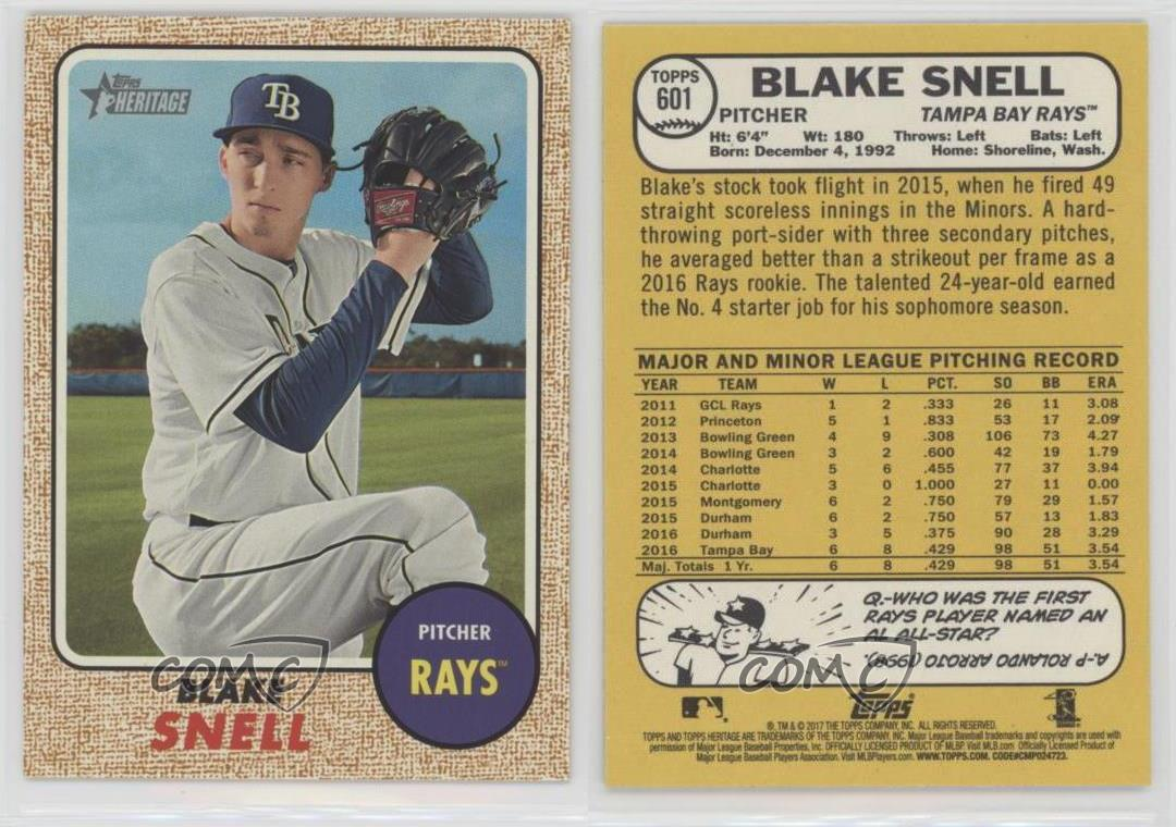 2017-Topps-Heritage-High-Number-601-Blake-Snell-Tampa-Bay-Rays-Baseball-Card