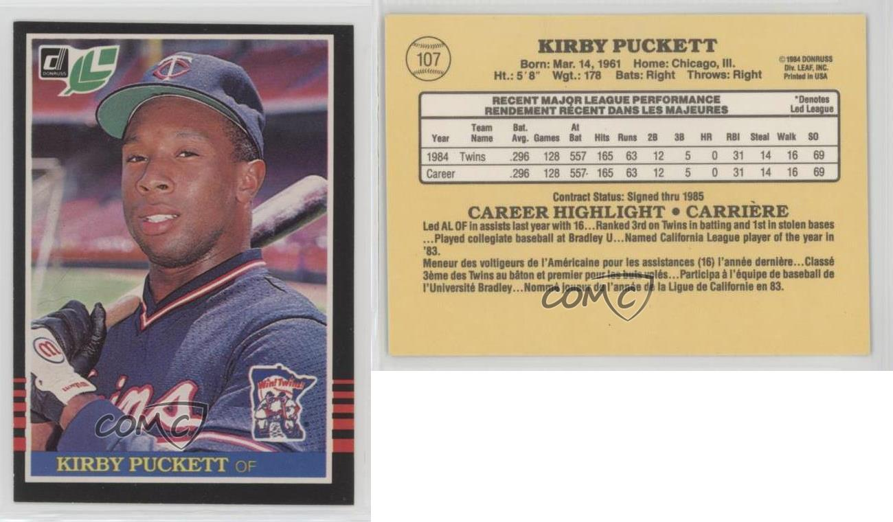 1985-Donruss-Leaf-107-Kirby-Puckett-Minnesota-Twins-RC-Rookie-Baseball-Card