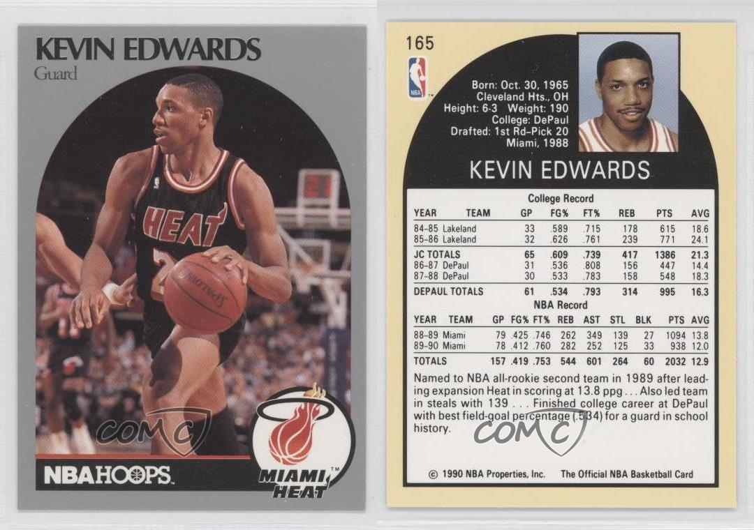 Mi miami heat highest paid player by year - 1990 91 Nba Hoops 165 Kevin Edwards Miami
