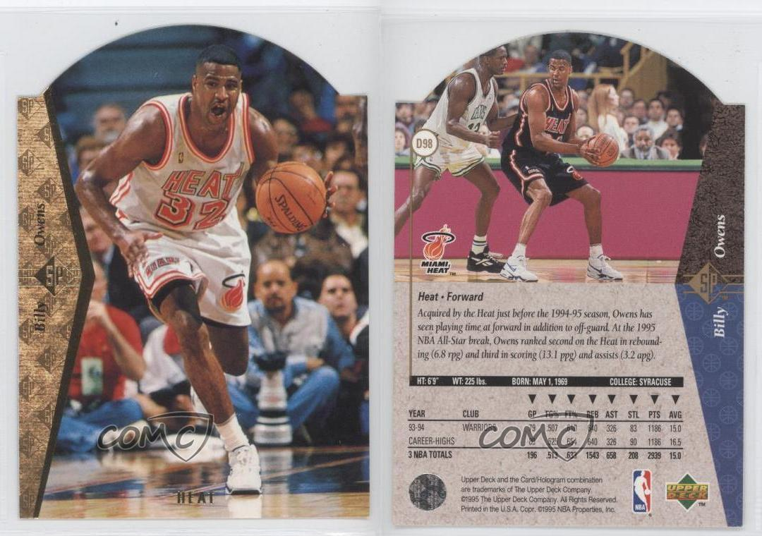 1994 95 SP Die Cut D98 Billy Owens Miami Heat Basketball Card