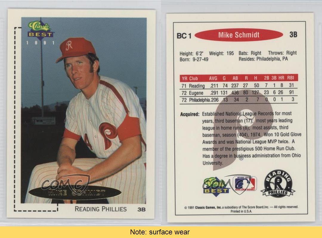 1991 classic best minor league gold bonus cards bc1 mike schmidt 1991 classic best minor league gold bonus cards colourmoves