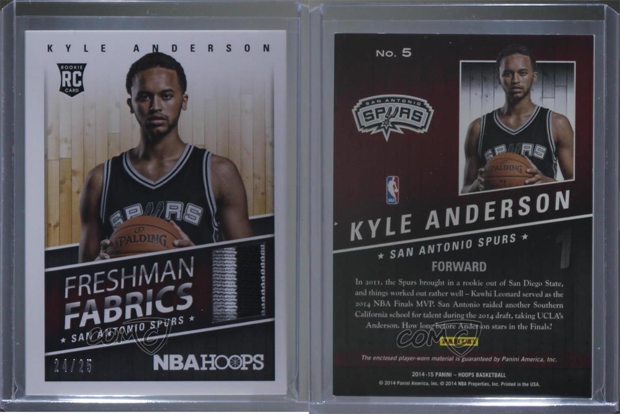 2014-15-NBA-Hoops-Freshman-Fabrics-Prime-5-Kyle-Anderson-San-Antonio-Spurs-Card