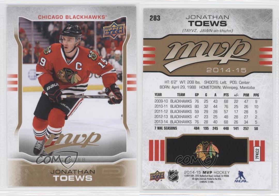 2014-15-Upper-Deck-MVP-283-Jonathan-Toews-Chicago-Blackhawks-Hockey-Card