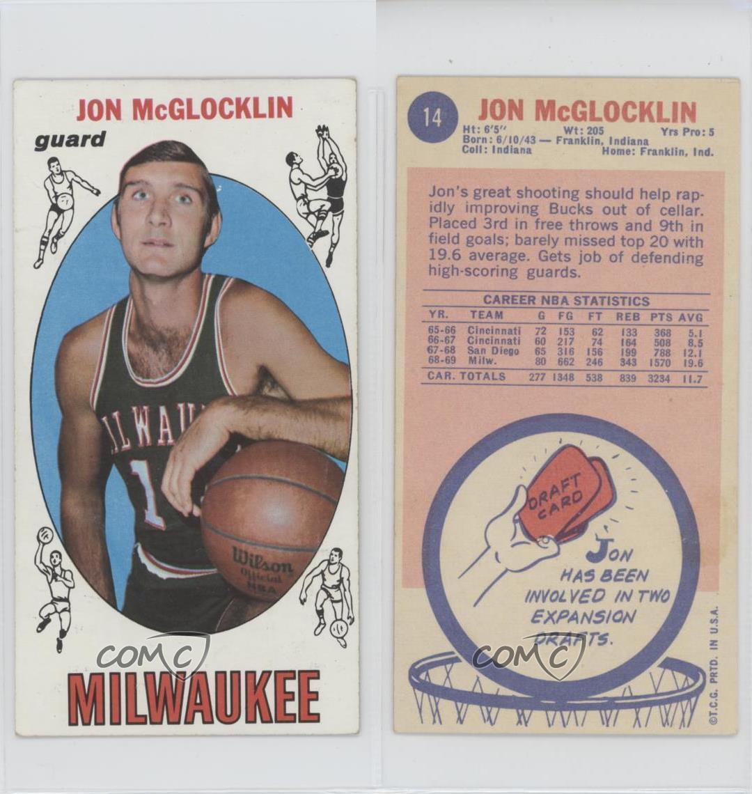 1969 70 Topps 14 Jon McGlocklin Milwaukee Bucks Tarjeta de