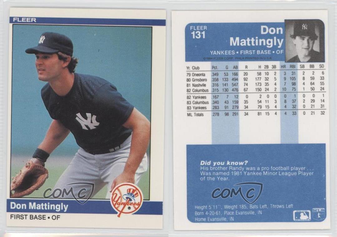 1984 Fleer 131 Don Mattingly New York Yankees Rc Rookie
