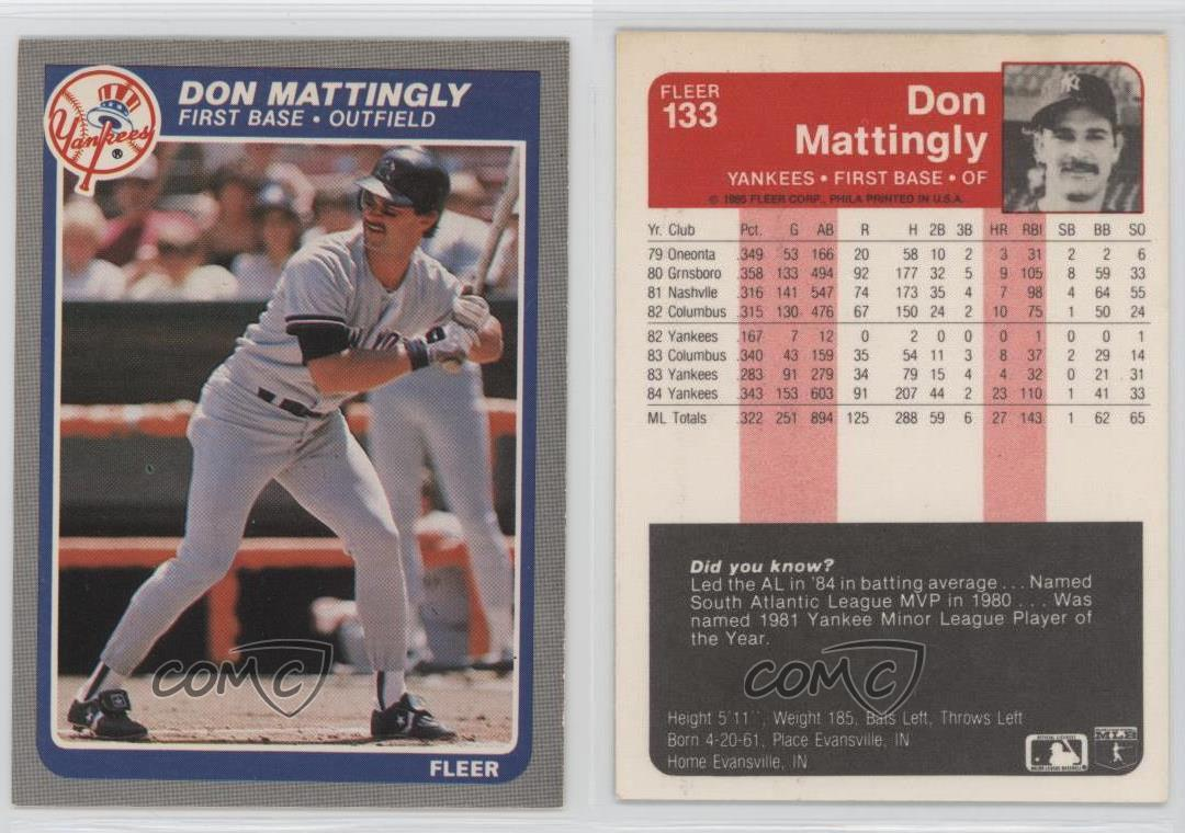 1985 Fleer 133 Don Mattingly New York Yankees Baseball