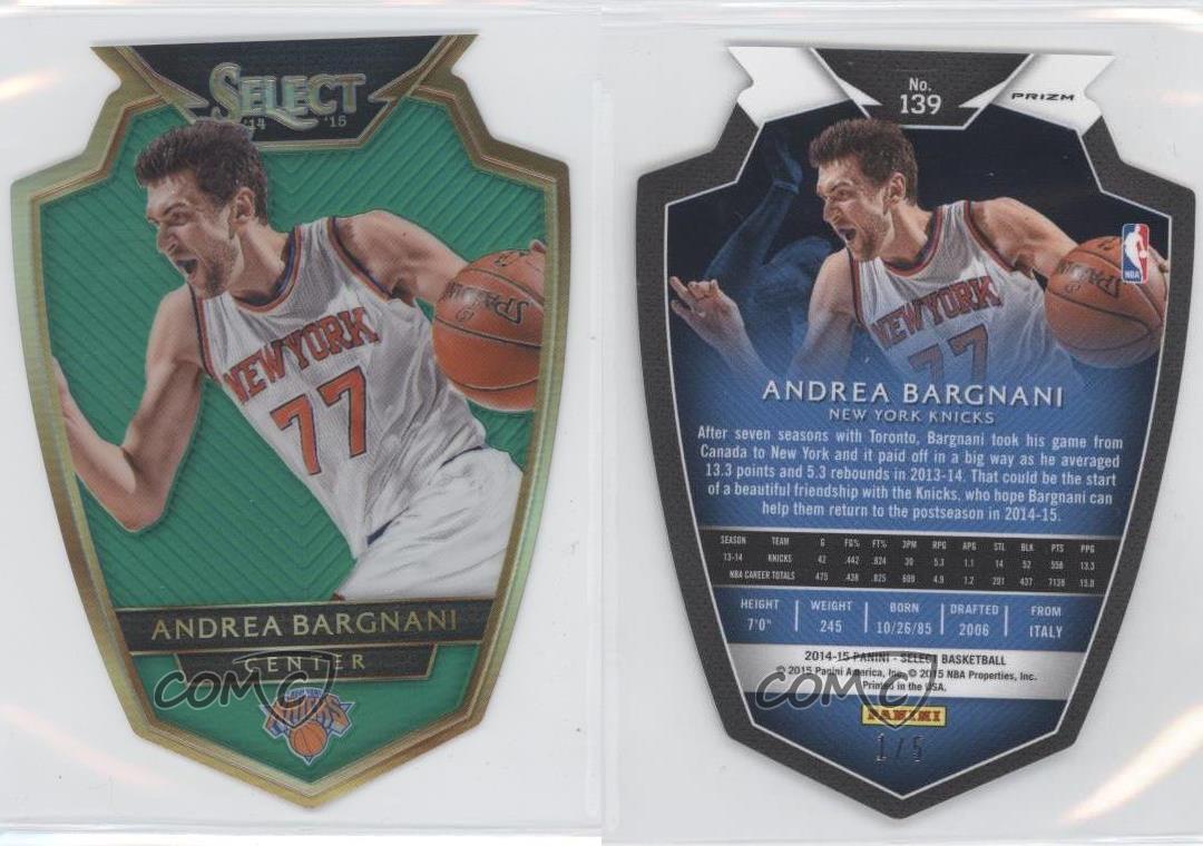 2014-15-Panini-Select-Green-Prizm-139-Premier-Level-Die-Cut-Andrea-Bargnani-Card